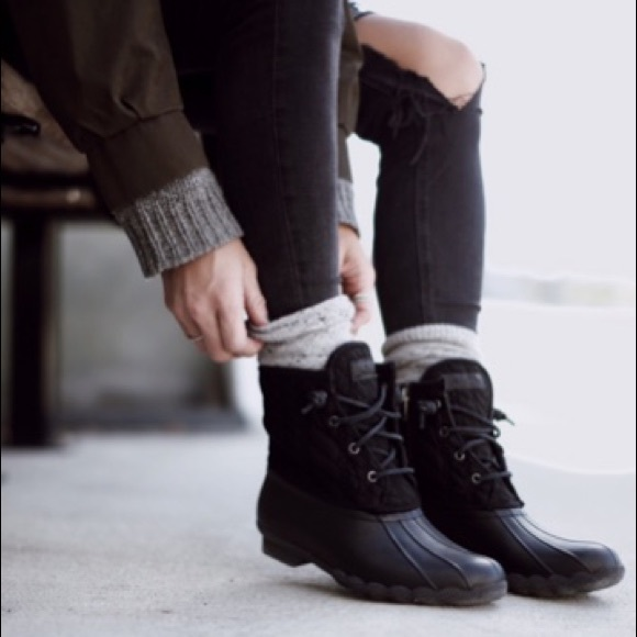 Sperry Saltwater Black Quilted Duck